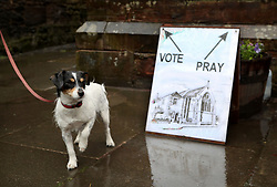 Skye the dog waits outside a polling station in St James' Church, Edinburgh as voters head to the polls across the UK to vote in the General Election.