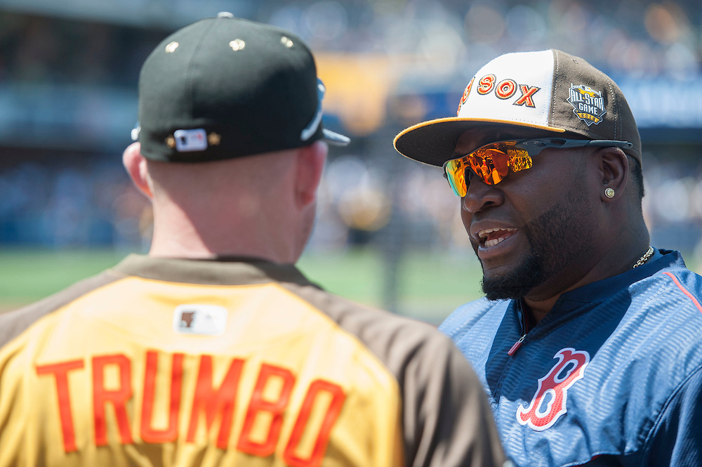 The Red Sox' David Ortiz talks with the Orioles' Mark Trumbo during batting practice before the 2016 MLB All-Star Game in San Diego on Tuesday.<br /> <br /> <br /> ///ADDITIONAL INFO:   <br /> <br /> allstar.0713.kjs  ---  Photo by KEVIN SULLIVAN / Orange County Register  -- 7/12/16<br /> <br /> The 2016 MLB All-Star Game at Petco Park in San Diego.
