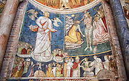 Frescoes depicting the baptism of Christ bt St John the Baptist  on the interior of the Romanesque Baptistery of Parma, circa 1196, (Battistero di Parma), Italy .<br /> <br /> If you prefer you can also buy from our ALAMY PHOTO LIBRARY  Collection visit : https://www.alamy.com/portfolio/paul-williams-funkystock/romanesque-art-antiquities.html<br /> Type -     Parma    - into the LOWER SEARCH WITHIN GALLERY box. <br /> <br /> Visit our ROMANESQUE ART PHOTO COLLECTION for more   photos  to download or buy as prints https://funkystock.photoshelter.com/gallery-collection/Medieval-Romanesque-Art-Antiquities-Historic-Sites-Pictures-Images-of/C0000uYGQT94tY_Y