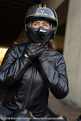 Francesca Gasperi of Verona, Italy at the 1/8 mile sprint races during the Intermot International Motorcycle Fair. Cologne, Germany. Saturday October 6, 2018. Photography ©2018 Michael Lichter.