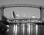 Cleveland, Ohio skymline with bridges on Cuyahoga River
