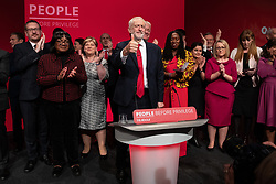 © Licensed to London News Pictures . 24/09/2019. Brighton, UK. Labour shadow front bench and MPs alongside JEREMY CORBYN on the stage after Corbyn delivers the leader's speech a day early , on the fourth day of the 2019 Labour Party Conference from the Brighton Centre , after the Supreme Court ruled that Boris Johnson's suspension of Parliament was unlawful . Photo credit: Joel Goodman/LNP