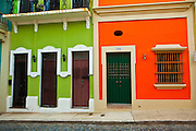 Historic traditional homes along Calle San Sebastian Old San Juan, Puerto Rico.