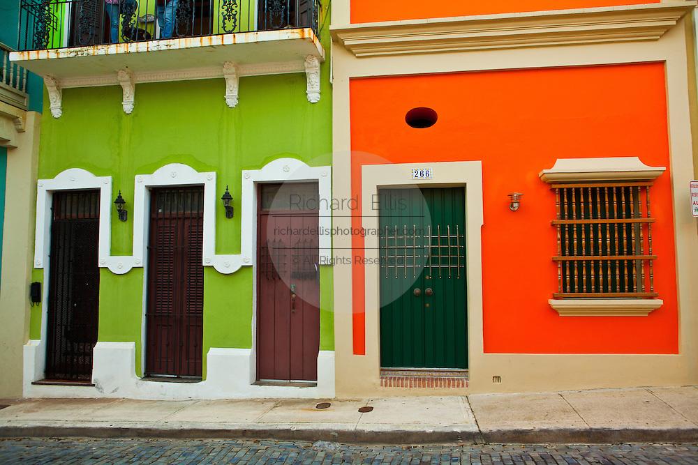 Historic traditional homes along Calle San Sebastian Old San Juan, Puerto Rico.