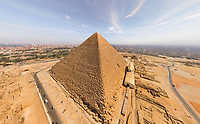 Aerial view of the Great Pyramids of Giza in Egypt