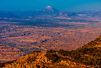 View from Monte Jabalcon of the Guadix-Baza Depression, town of Baza is below, Granada Province, Andalusia, Spain.