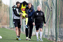 January 9, 2018 - Oliva, SPAIN - Gent's physiotherapist Bert Bogaert, Gent's Moses Simon and Gent's physiotherapist Matti Mortier leaves the pitch after being injured during a friendly soccer match between Belgian first division club KAA Gent and German Second Bundesliga team 1. FC Nurnberg, on day five of Gent's winter training camp in Oliva, Spain, Tuesday 09 January 2018. BELGA PHOTO JASPER JACOBS (Credit Image: © Jasper Jacobs/Belga via ZUMA Press)