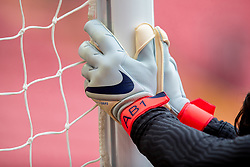 LIVERPOOL, ENGLAND - Sunday, March 7, 2021: The gloves of Liverpool's goalkeeper Alisson Becker during the pre-match warm-up before the FA Premier League match between Liverpool FC and Fulham FC at Anfield. Fulham won 1-0 extending Liverpool's run to six consecutive home defeats. (Pic by David Rawcliffe/Propaganda)