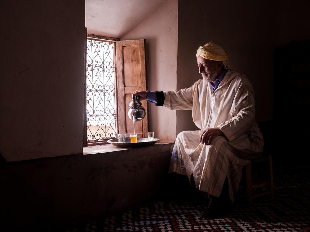 AIT BEN HADDOU, MOROCCO - CIRCA MAY 2018: Moroccan man wearing traditional closes at the Ksar Ait Ben Haddou