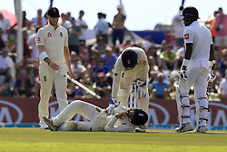 November 7, 2018 - Galle, Sri Lanka - England cricketer Rory Burns lies down after being hit by a shot played by Sri Lankan cricketer Niroshan Dickwella (unseen) during the 2nd day's play of the first test cricket match between Sri Lanka and England at Galle International cricket stadium, Galle, Sri Lanka. 11-07-2018  (Credit Image: © Tharaka Basnayaka/NurPhoto via ZUMA Press)