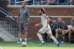 July 28, 2018 - Ann Arbor, Michigan, United States - Mohamed Salah (11) of Liverpool brings the ball up the field past the bench during an International Champions Cup match between Manchester United and Liverpool at Michigan Stadium in Ann Arbor, Michigan USA, on Wednesday, July 28,  2018. (Credit Image: © Amy Lemus/NurPhoto via ZUMA Press)