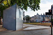 Hidden beneath the cover is a bronze sculpture of former President of South Africa and anti-apartheid activist Nelson Mandela on 15th June 2020 in Londons Parliament Square. The statue, created by English sculptor Ian Walters, is 9 feet high, and made in bronze. The statue was boarded up to protect it from attacks by far-right extremists.
