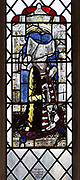 Medieval stained glass window, Holy Trinity church, Long Melford, Suffolk, England - Margaret Barnard (1420-58) wife of Thomas Peyton