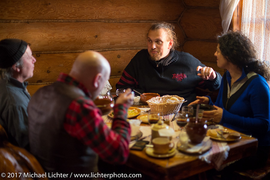 Jonathan, Vasily, Dmitry and Ela at a traditional Russian dinner in Suzdal, Russia, an 11th century Golden Ring town. Tuesday April 25, 2017. Photography ©2017 Michael Lichter.