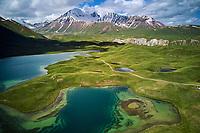 Kirghizistan, province de Osh, vallée d'Alaï, lac Tolpur au camp de base du Pic Lénine, vue aerienne // Kyrgyzstan, Osh province, Alaï valley, Tolpur lake, Lenine pic base camp, aerial view