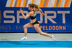 Myke van de Wiel in action on the 200 meter during AA Drink Dutch Athletics Championship Indoor on 21 February 2021 in Apeldoorn.