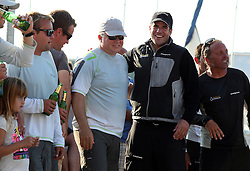 07.10.2012, Rovinj, CRO, Adris RC44 World Championship, Tag 5, im Bild Peninsula Petroleum's crew celebrate winning the 2012 RC44 sailing World Championship. Chris Bake and John Bassadone // during day 5 of RC44 World Championship 2012 in Rovinj, Croatia on 2012/10/07. EXPA Pictures © 2012, PhotoCredit: EXPA/ Pixsell/ Jurica Galoic..***** ATTENTION - OUT OF CRO, SRB, MAZ, BIH and POL *****