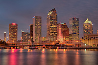 View of  Downtown Tampa in Florida. The Tampa Bay are is Florida's largest open water estuary and a natural harbor along the Gulf of Mexico on the Western coast of Florida.  Tampa Bay will be host of the Super Bowl XLIII in February 2009.