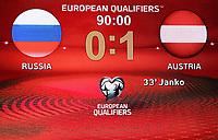 Fotball<br /> EM-kvalifisering<br /> 14.06.2015<br /> Russland v Østerrike<br /> Foto: Gepa/Digitalsport<br /> NORWAY ONLY<br /> <br /> UEFA European Championship 2016, European Qualifiers, OEFB international match, Russia vs Austria. Image shows a scoreboard.