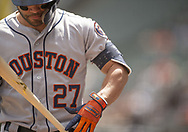 CHICAGO - AUGUST 14:  Jose Altuve #27 of the Houston Astros looks on during the game against the Chicago White Sox on August 14, 2019 at Guaranteed Rate Field in Chicago, Illinois.  (Photo by Ron Vesely/MLB Photos via Getty Images)  *** Local Caption *** Jose Altuve
