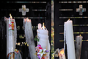 Lourdes France big offering candles burning near the grotto