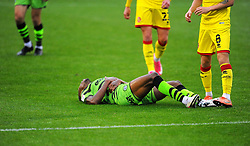 Ebou Adams of Forest Green Rovers picks up an injury- Mandatory by-line: Nizaam Jones/JMP - 03/10/2020 - FOOTBALL - the innocent [insert name here] stadium - Nailsworth, England - Forest Green Rovers v Walsall - Sky Bet League Two