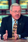 Rep. Bob Barr (R-GA) discusses the ongoing scandal involving President Clinton during NBC's Meet the Press September 20, 1998 in Washington, DC.