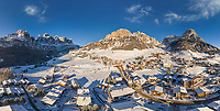 Aerial view of Dolomites ski resort with snow, Italy