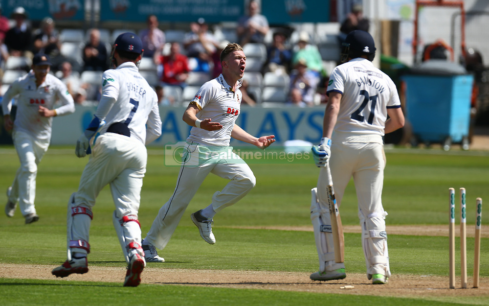 May 4, 2018 - Chelmsford, Greater London, United Kingdom - Essex's Simon Cook blows out Yorkshire's Jonny Bairstow.during Specsavers County Championship - Division One, day one match between Essex CCC and Yorkshire CCC at The Cloudfm County Ground, Chelmsford, England on 04 May 2018. (Credit Image: © Kieran Galvin/NurPhoto via ZUMA Press)