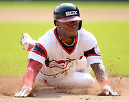 CHICAGO - SEPTEMBER 10:  Tim Anderson #7 of the Chicago White Sox slides headfirst into third base against the San Francisco Giants on September 10, 2017 at Guaranteed Rate Field in Chicago, Illinois.  The White Sox defeated the Giants 8-1.  (Photo by Ron Vesely) Subject:   Tim Anderson