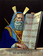 Moses, religious leader and principal prophet of  Israelites. Half-length 'portrait' of Moses facing right, holding the tablets inscribed with the Ten Commandments given him by God on Mount Sinai. Hand-coloured lithograph c1874.  Judaism
