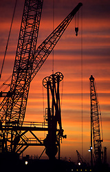 Stock photo of sunset on a rig