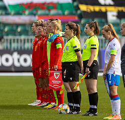 NEWPORT, WALES - Thursday, October 22, 2020: Wales' captain Sophie Ingle and her team sing the national anthem before the UEFA Women's Euro 2022 England Qualifying Round Group C match between Wales Women and Faroe Islands Women at Rodney Parade. Wales won 4-0. (Pic by David Rawcliffe/Propaganda)