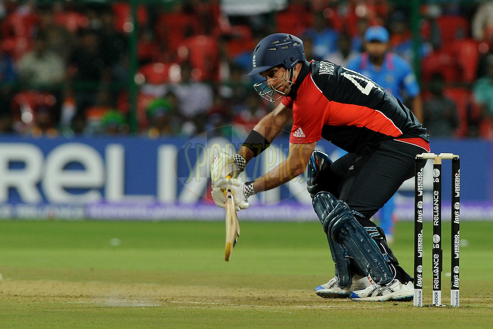 Ajmal Shahzad of England bats during the ICC Cricket World Cup match between India and England held at the M Chinnaswamy Stadium in Bengaluru, Bangalore, Karnataka, India on the 27th February 2011..Photo by Pal Pillai/BCCI/SPORTZPICS