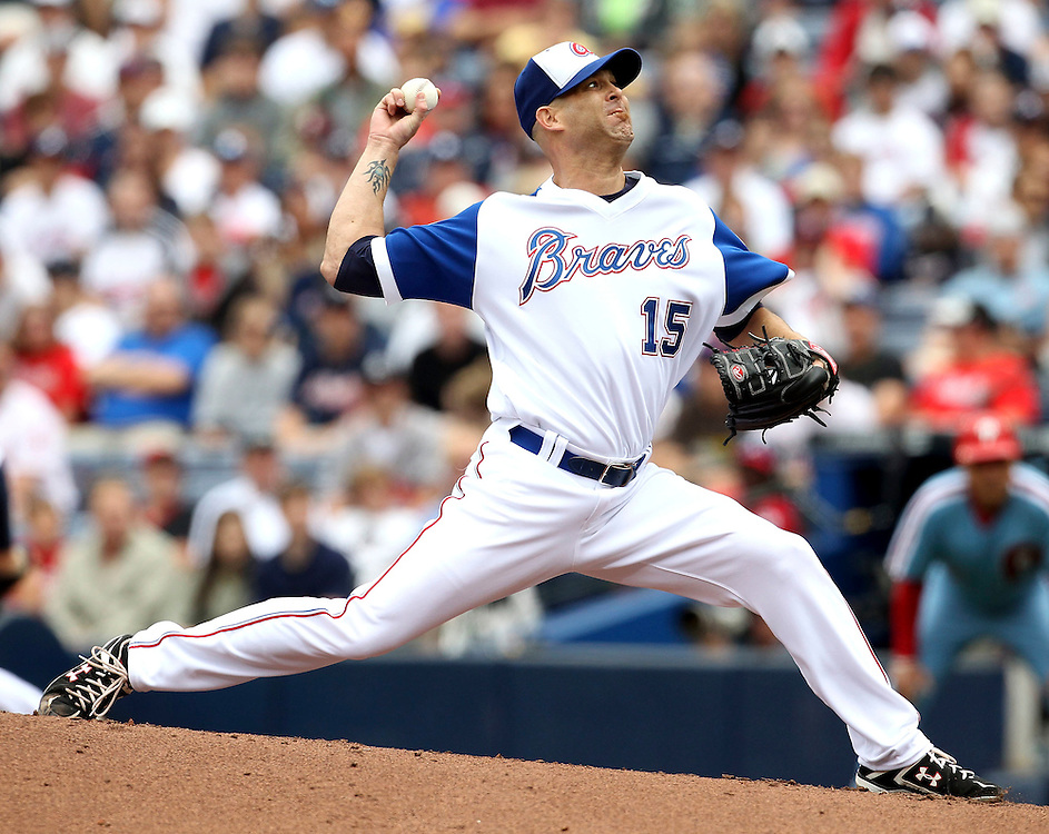 ATLANTA - MAY 15:  Atlanta Braves pitcher Tim Hudson #15 throws a pitch during the MLB Civil Rights Game between the Philadelphia Phillies and the Atlanta Braves on Sunday, May 15, 2011 at Turner Field in Atlanta, Georgia.  (Photo by Mike Zarrilli/MLB Photos via Getty Images)