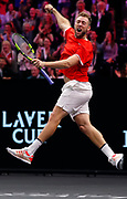 Team World's Jack Sock celebrates his team's win over Team Europe's Roger Federer and Alexander Zverev in a men's doubles tennis match at the Laver Cup, Sunday, Sept. 23, 2018, in Chicago.   (AP Photo/Jim Young)