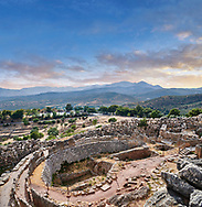 Ancient Greek Grave Circle A ruins , Mycenae  Archaeological Site, Peloponnese, Greece . <br /> <br /> Visit our MYCENAEN ART PHOTO COLLECTIONS for more photos to download  as wall art prints https://funkystock.photoshelter.com/gallery-collection/Pictures-Images-of-Ancient-Mycenaean-Art-Artefacts-Archaeology-Sites/C0000xRC5WLQcbhQ<br /> .<br /> <br /> Visit our GREEK HISTORIC PLACES PHOTO COLLECTIONS for more photos to download or buy as wall art prints https://funkystock.photoshelter.com/gallery-collection/Pictures-Images-of-Greece-Photos-of-Greek-Historic-Landmark-Sites/C0000w6e8OkknEb8