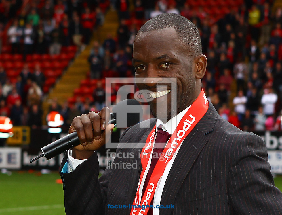 Picture by John Rainford/Focus Images Ltd. 07506 538356.05/05/12.Chris Powell of Charlton Athletic thanks the fans after winning the Npower League 1 title at The Valley stadium, London.