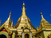 18 NOVEMBER 2017 - YANGON, MYANMAR: Sule Pagoda in central Yangon. Pope Francis is visiting Myanmar, September 27-30. It will be the first visit by a Pope to the overwhelmingly Buddhist nation. He will meet with the Aung San Suu Kyi and other political leaders and will participate in two masses in Yangon. The Pope is expected to talk about Rohingya issue while he is in Myanmar. The Rohingya are persecuted Muslim minority in Rakhine state in western Myanmar. It's not clear how Myanmar's politically powerful nationalist monks will react if the Pope openly talks about the Rohingya. In the past, the monks have led marches and demonstrations against foreign diplomatic missions when foreign ambassadors have spoken in defense of the Rohingya. There is not much visible sign of the Pope's imminent visit in Yangon, which is estimated to be more than 90% Buddhist.    PHOTO BY JACK KURTZ
