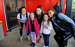 Bristol City Women poses for photographs with mascots prior to kick-off- Mandatory by-line: Nizaam Jones/JMP - 27/10/2019 - FOOTBALL - Stoke Gifford Stadium - Bristol, England - Bristol City Women v Tottenham Hotspur Women - Barclays FA Women's Super League