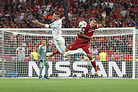 KIEV, UKRAINE - MAY 26: Raphael Varane of Real Madrid competes with Roberto Firmino of Liverpool during the UEFA Champions League final between Real Madrid and Liverpool at NSC Olimpiyskiy Stadium on May 26, 2018 in Kiev, Ukraine. (MB Media)