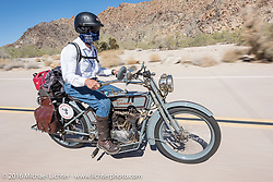 Steve Decosa of New York riding his 1915 Harley-Davidson during the Motorcycle Cannonball Race of the Century. Stage-14 ride from Lake Havasu CIty, AZ to Palm Desert, CA. USA. Saturday September 24, 2016. Photography ©2016 Michael Lichter.
