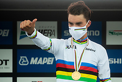 World Champion ALAPHILIPPE Julian of France  celebrates at medal ceremony during Men Elite Road Race at UCI Road World Championship 2020, on September 27, 2020 in Imola, Italy. Photo by Vid Ponikvar / Sportida