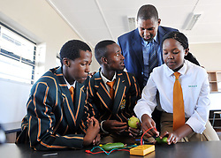Loyiso Kobo,Sonwabile Semane and Vithi Unathi with Chief Mandla Mandela at the Nelson  Mandela School of Technology was launched at former president Nelson Mandela's birthplace in Mvezo village in Eastern Cape,the School will focus on engineering, science, technology and agriculture.466 <br /> Picture:Matthews Baloyi 1/16/2014