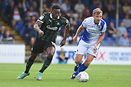 Freddie Ladapo (19) of Plymouth Argyle on the attack during the EFL Sky Bet League 1 match between Bristol Rovers and Plymouth Argyle at the Memorial Stadium, Bristol, England on 8 September 2018.
