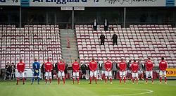 Det danske hold under nationalsangen, før U21 EM2021 Kvalifikationskampen mellem Danmark og Ukraine den 4. september 2020 på Aalborg Stadion (Foto: Claus Birch).