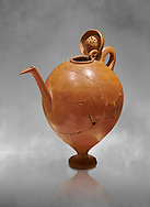 Terra cotta Hittite beaker shaped side spouted pitcher with lid - 1700 BC to 1500BC - Kültepe Kanesh - Museum of Anatolian Civilisations, Ankara, Turkey .<br /> <br /> If you prefer to buy from our ALAMY STOCK LIBRARY page at https://www.alamy.com/portfolio/paul-williams-funkystock/hittite-art-antiquities.html  - Type Kultepe into the LOWER SEARCH WITHIN GALLERY box. Refine search by adding background colour, place, museum etc<br /> <br /> Visit our HITTITE PHOTO COLLECTIONS for more photos to download or buy as wall art prints https://funkystock.photoshelter.com/gallery-collection/The-Hittites-Art-Artefacts-Antiquities-Historic-Sites-Pictures-Images-of/C0000NUBSMhSc3Oo