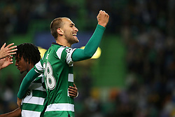 November 22, 2017 - Lisbon, Portugal - Sporting's forward Bas Dost from Holland celebrates after scoring a goal during the UEFA Champions League group D football match Sporting CP vs Olympiacos FC at Alvalade stadium in Lisbon, Portugal on November 22, 2017. Photo: Pedro Fiuza  (Credit Image: © Pedro Fiuza/NurPhoto via ZUMA Press)