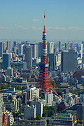 Elevated cityscape of Tokyo, Japan. Tokyo Tower