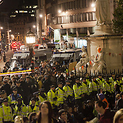 The view from the steps of the cathedral. The London Stock Exchange was attempted occypied in solidarity with Occupy Wall in Street in New York and in protest againts the economic climate, blamed by many on the banks. Police managed to keep people away fro the Patornoster Sqaure and the Stcok Exchange and thousands of protestors stayid in St. Paul's Square, outside St Paul's Cathedral. Many camped getting ready to spend the night in the square.